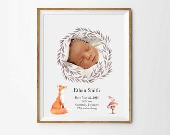 Birth Announcement art, 5 x 7 in, 8 x 10 in, 11 x 14 in, Personalized nursery art,  Newborn custom photo, Birth art print, Printable art