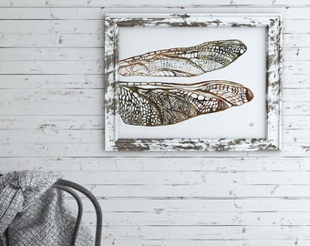 Dragonfly Wall Art, Hand Drawn, Wings, Intricate, Neutral Wall Art, Fine Art Print, Insect Print, Home Decor, Nature Art, Brown, Green