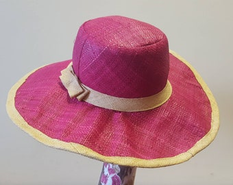 Stunning 60's style Floppy Sun Hat available in Pink and Red Raffia.