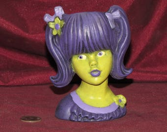 Head Vase Girl Purple Hair Pigtails - Hand Painted Finished Ceramic Bisque