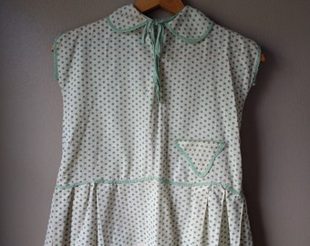 Polka Dot Top, Green and White, Mint Green Girls Top, Tunic, Vintage Dress 1920's, Antique Girls Clothing, Easter Outfit, Spring