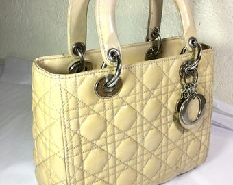 Vintage CD Cannage Lady Cannage Beige Quilted Leather Bag OBO