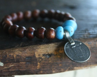 San Capistrano Stretch Mala Style Gypsy Stacking Bracelet with Reclaimed Vintage Wood Beads and Padre Beads and Afghani Coin Pendant