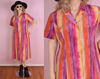 90s Colorful Striped Button Down Dress/ US 12/ 1990s