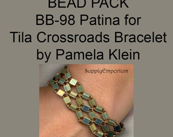 BB-98 Patina BEAD PACk for Tila Crossroads Bracelet by Pamela Klein - Tutorial Sold Separately