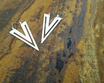 Vintage Retro 1980s Silver Pierced Earrings