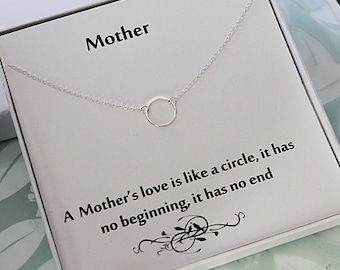 Sterling Silver Eternity Necklace - mother necklace, Infinity ring necklace, message jewelry box necklace