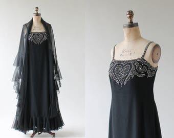 Vintage 1970s Mollie Parnis Beaded Evening Dress and Shawl
