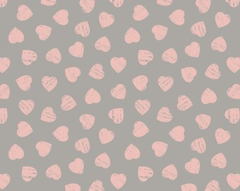 Lewis and Irene Dove House Collection, Pink Heart Print Cotton Fabric, Patchwork Fabric, Quilting Fabrics - 100% Cotton