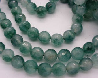 10 jade 10 mm Green freshwater faceted deteriorating a hue nuagee