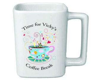 "Personalized 11oz Square ""Time for Coffee Break"" Mug"
