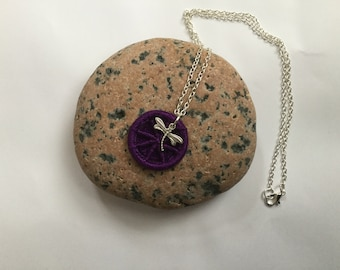 Dorset Button Pendant with Dragonfly Charm in Purple