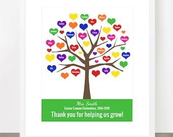 Bestselling TEACHER TREE, Tree Personalized Class Names, Teacher Appreciation, Class Gift, End of year, Teacher Gift, Personalized, 8x10