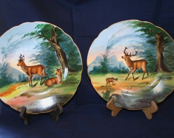 Antique Stagg Deer  Hunting  8 1/2 inch Decorative hand Painted Plate Choice