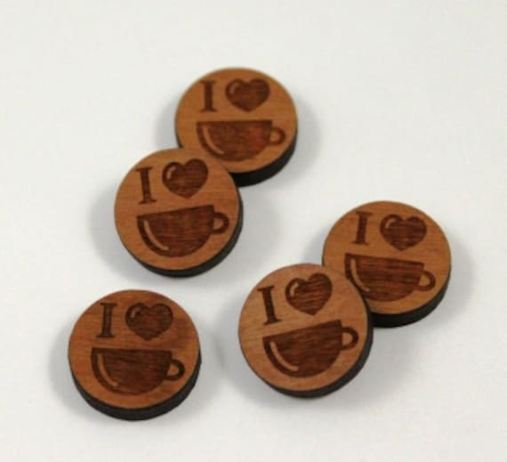Laser Cut Supplies-8 Pieces.I Love Coffee Charms-Acrylic and Wood Laser Cut-Jewellery Supplies- Little Laser Lab Wood and Acrylic Products