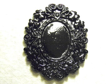10 Black Cameo Settings Ornate Oval Resin Frame 18x25mm Cabochon Cab Bezel Goth Jewelry Gothic Neo Victorian Mourning Steampunk Jewelry