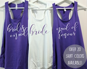 Bridesmaid tank top - Bridal party outfit - Bachelorette shirts - Bridal tank tops - Maid of Honor Shirt - Bride Shirt - Bridesmaid Shirt