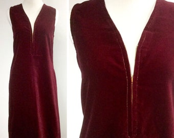 Red Velvet Dress, Metallic Gold Stitching, Vintage Metal Zipper, Deep V Front, Simple Sexy Sillouette, Side Pocket, Burgundy Cranberry Red