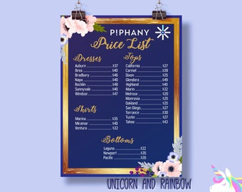 UPDATED Piphany Digital Price List - Instant Download -Fashion Consultant-Floral Design