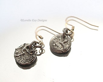 Small Textured Solder Earrings Motlen Solder Tiny Everyday Pierced Earrings