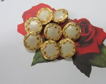10 Vintage Retro 23 mm Milky White Round Button with Gold Art Deco Rim