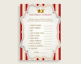 Price Is Right Baby Shower Price Is Right Prince Baby Shower Price Is Right Red Gold Baby Shower Prince Price Is Right digital print 92EDX