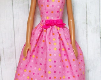 Handmade, Barbie Clothing, Barbie Dress, Pink Dress, Polka Dots,  Fashion Doll Clothes, Handmade Barbie Dress, Doll Clothes, Doll Dress