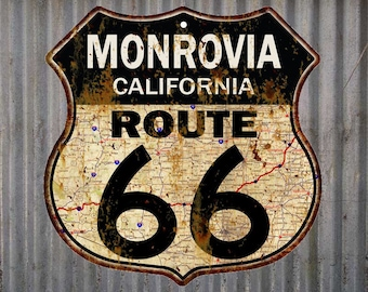 Monrovia, California Route 66 Vintage Look Rustic 12X12 Metal Shield Sign S122089