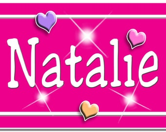 Custom Name Hearts Bicycle License Plate Personalized Gifts Girls Teens Ladies Hot Pink