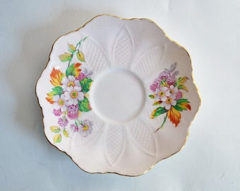 Vintage Paragon Saucer with White, Yellow, Lavender and Orange Floral Motif - ORPHAN saucer ONLY