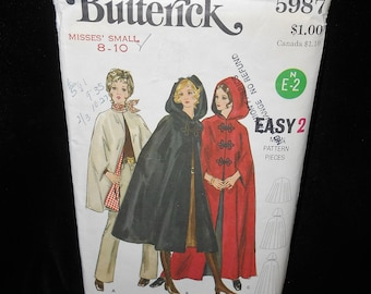 Misses cape Butterick 5987 Womens Small 8-10 Hood Lined Vintage 1970s