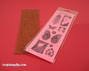 Art Nouveau  / Invoke Arts Collage Rubber Stamps / Unmounted Stamp Set