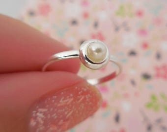 925 Sterling Silver Pearl Toe Ring, Toe Ring, Summer Toe Ring, Pearl Toe Ring, Adjustable Toe Ring, Geometric Toe Ring