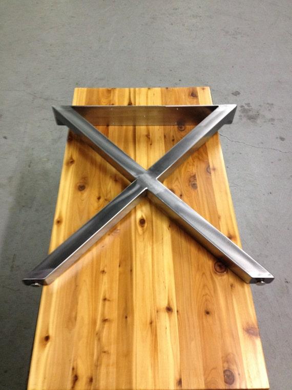 Genial X Metal Table Legs Brushed Nickel Finish 2 X 2
