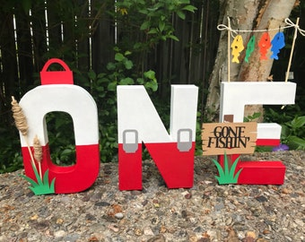 Fishing theme paper mache ONE letters , the big one , photo props