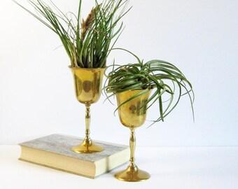 Set of 2 Vintage EP Brass Wine Goblets - Silverplate Stemware - Brass Barware - Brass Home Decor - Pedestal Planter Pot - Air Plant Display