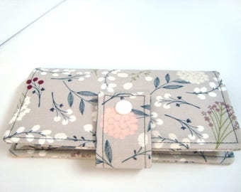 Fabric Checkbook Cover , Checkbook Holder Berry Floral
