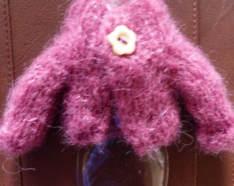 Hand Knitted Cardigan For Blythe - Raspberry Alpaca Yarn