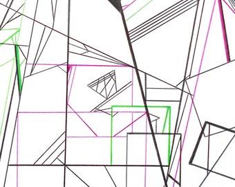Minimalist drawing abstract geometric original art black white green pink artwork Vibe by Caerys Walsh