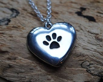 Pawprint Heart Pewter Pendant