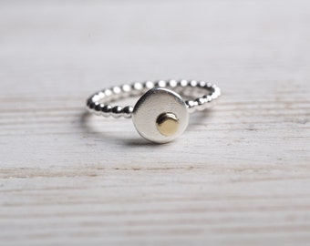 Sterling Silver Bead Ring, Sterling Silver Stacking Ring, Single Beaded Ring, Silver Dot Ring, Sterling Silver Jewelry, mothers day