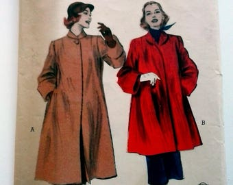 FABULOUS 50s Ladies Flared Winter Coat Butterick 6288, Vintage Coat UNCUT Pattern