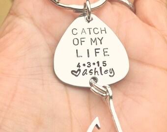 Fishing Lure Keychain, For Him, Boyfriend Gift, Personalized Fishing Lure, Hand Stamped Fishing Lure,natashaaloha