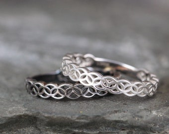 Celtic Knot Ring - Sterling Silver Your Choice of Finish - Celtic Inspired Rings - Stacking Rings - Celtic Knot Wedding Band