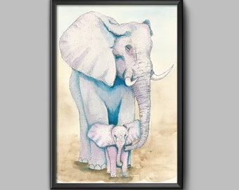 Elephants Watercolor Art Print, wildlife, African, Asian, Baby and Mom, Watercolor, Ink