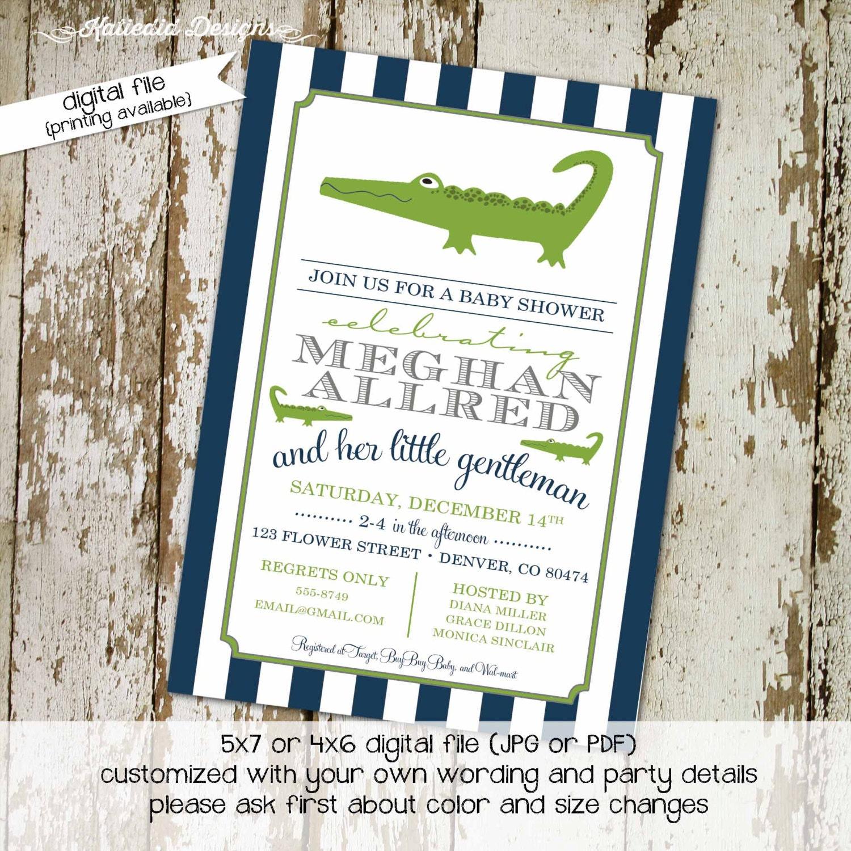 alligator little man couples baby shower invitation coed diaper ...