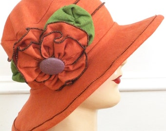 Organic Sun Hat - Ladies Travel Hat - Edwardian Style - Orange - Traveling Mabel