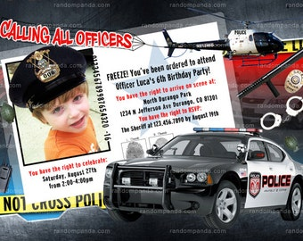 Personalize POLICE Officer Party Invitation - ADD Policeman Hat