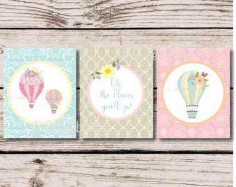 Shabby Chic Nursery Art, Hot Air Balloon Wall Print Set, Printable Nursery Art Print, INSTANT DOWNLOAD, Girls Art Print, Nursery Wall Decor