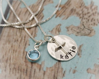 SALE Personalized Sterling Silver Disc with Cross Necklace for Confirmation or First Communion Hand Stamped Jewelry Date on Back